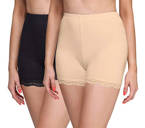 Merry Style Damen Shorts Radlerhose Unterhose Hotpants kurze Hose Boxershorts aus Viskose 2 Pack MS10-294 (Schwarz/Beige(2Pack), XL)
