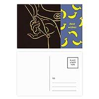 仏教の宗教は仏教の手のパターン バナナのポストカードセットサンクスカード郵送側20個