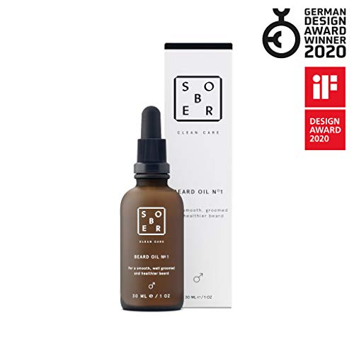 sober® | Beard Oil No. 1 | Veganes Bartöl | Natürliche Bartpflege für Männer mit kostbarem Argan-, Jojoba- und Avocadoöl