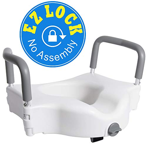 Vaunn Medical Elevated Raised Toilet Seat & Commode Booster Seat Riser with Removable Padded Grab bar Handles & Locking Mechanism