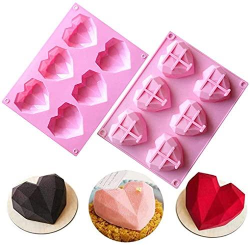 6-hål, 3D, kärlek, hjärta, diamantformad form, silikon, bakformar, choklad, tvål, pudding, tårta, handgjord, bakverktyg, bricka, form, gör-det-själv-verktyg