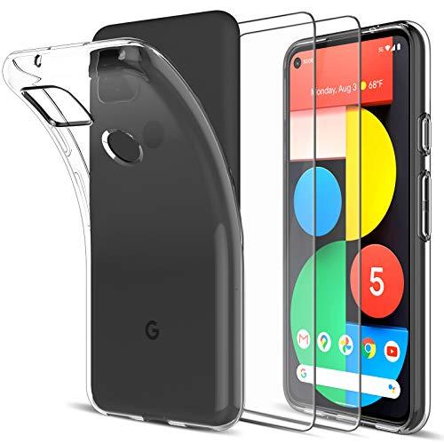 LK Hülle für Google Pixel 5,[rutschfest] Schlanker Weiche Flex Silikon TPU Schutzhülle Hülle Cover mit Panzerglas Folie[2 Stück] für Google Pixel 5 - Transparent