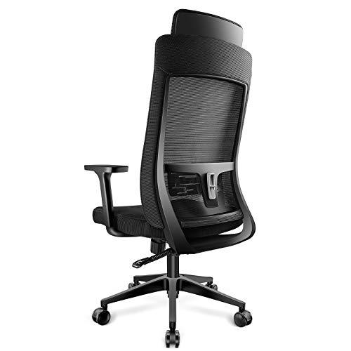 DAVEJONES 60mm PU Caster High Back Mesh Office Chair