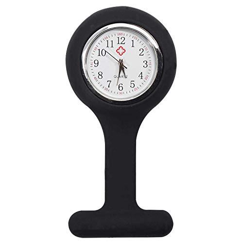 TRIXES Taschenuhr Uhr für Krankenschwestern Silikon mit Anstecknadel Schwarz
