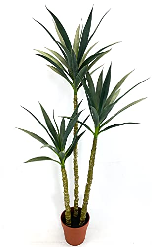 SilkTreeWarehouseCompanyInc One 60 inch Tall Indoor Outdoor Artificial Yucca Palm Tree Potted UV Rated Plant