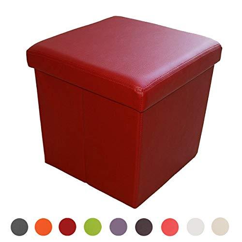 Style home Sitzbank Sitzhocker Aufbewahrungsbox mit Stauraum Faltbar belastbar bis 300 kg, Kunstleder, 38 x 38 x 38 cm (Dunkelrot)