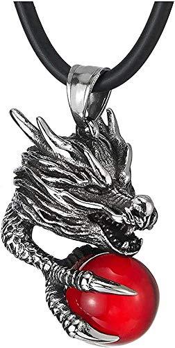 Yiffshunl Collar de Moda clásico Encanto Retro Personalidad Collar Hombres de Acero de púas Grifo Garra atrapar Bola roja Colgante Collar
