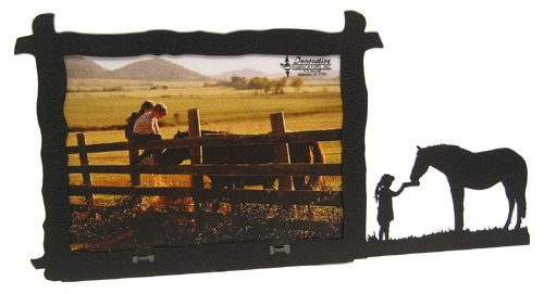 Innovative Fabricators, Inc. Girl Feeding Horse 5x7 Horizontal Picture Frame