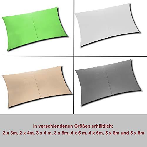 Ribelli Sonnensegel - mit Spannseilen zur Befestigung - Alternative zum Sonnenschirm Größen bis 8 Meter - Eisenringe für erhöhte Stabilität - UV30+ (4x5m, Grün)