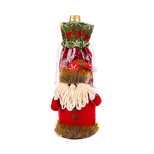 Hinzonek Linda Cubierta de Botella de Vino de Navidad Suéter de Botella de Vino Vestido Bolsas de Botella Ropa...