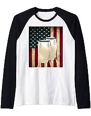 Congas US Flag with Conga Drummer Percussion Camiseta Manga Raglan