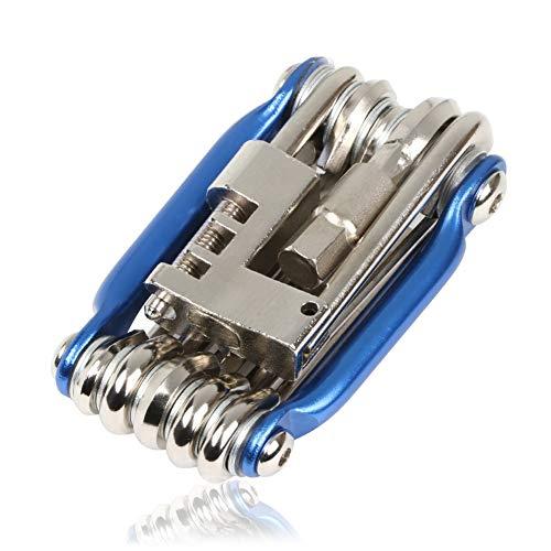 INTVN 11 in 1 Fahrrad-Multitool Fahrrad Rad Multifunktions Werkzeug mit Kettenwerkzeug,Mini Klapp Werkzeug Kit mit Innensechskantschlüsseln für Home Reisen Outdoor