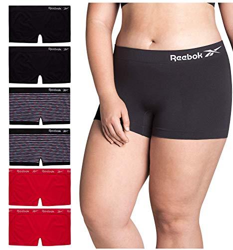 Reebok Women Plus Size Seamless Boyshort Panties Underwear (6 Pack), Size 1X-Large, Black/Pink/Space Dye/ Stripes/Crimson/Black