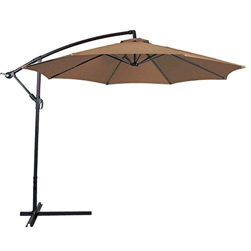 BELLEZE Patio Umbrella 10 Ft Offset Cantilever Umbrella Outdoor Market Hanging Umbrellas and Crank w. Cross Base, (Beige)
