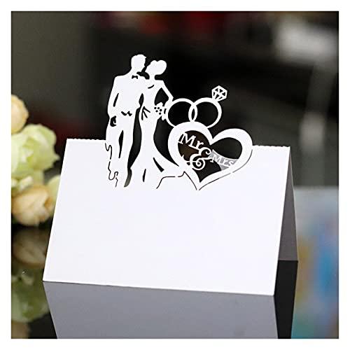 XUFAN Placera kort för brud och brudgum Namn Bröllopsdekoration DIY Paper Party Bordsäte Namn Meddelande Hälsningskort (10 ark) gift card (Color : White)