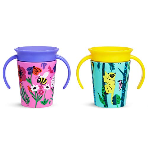 Munchkin Miracle 360 Wildlove Sippy Cup, 6 Oz, 2 Pack, Bee/Lemur