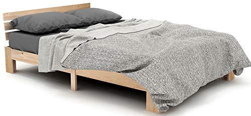 Jovego Holzbett 140x 200 cm | Massivholz Doppelbett Modern Kiefer Bett mit Kopfteil mit Lattenrost - FSC Massiv Holz Bettgestell (Natur)