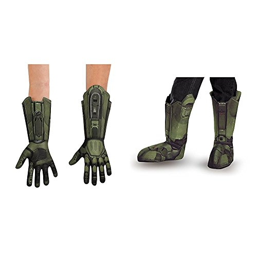 Master Chief Deluxe Child Gloves with Master Chief Child Boot Covers Bundle