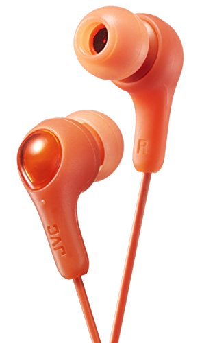 ORANGE GUMY In ear earbuds with stay fit ear tips. Wired 3.3ft colored cord cable with headphone jack. Small, medium, and large ear tip earpieces included. JVC GUMY HAFX7D
