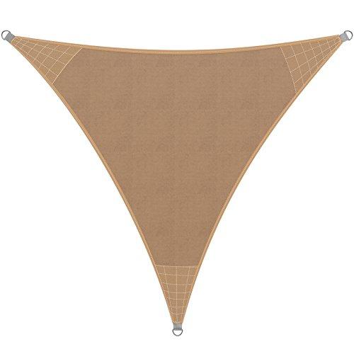 Detex® Sonnensegel Sonnenschutz Windschutz | HDPE Gewebe | wasserabweisend & windabweisend | Dreieck 5x5x5m | 7-Fach quer vernäht | robust & stabil | Sand | Modellauswahl