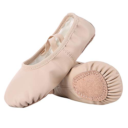 Dynadans Soft Leather Ballet Shoes/Ballet Slippers/Dance Shoes for Girls and Boys (Toddler/Little/Big Kid/Women)-Nude-2M Little Kid