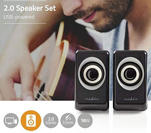 Combusters Kleines 2.0 Boxensystem Lautsprecher Box Boxen Pc Computer Laptop Desktop Tower Smartphone Tablet schwarz Power Strom über USB Stromversorgung Audio via 3,5mm Klinke Klinkenstecker klein