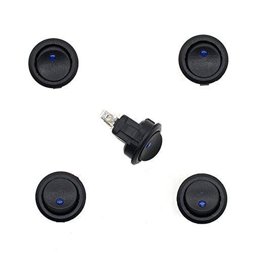 VORCOOL Lot de 5 boutons de réinitialisation ronds à 3 broches 12 V 20 A pour moto, voiture, bateau (noir)