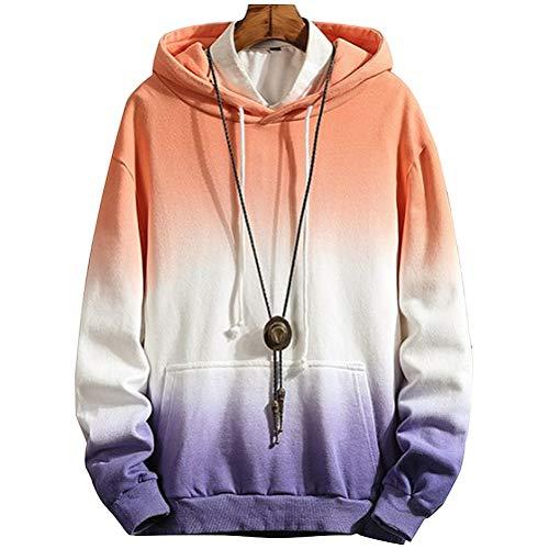 XIAOYAO Hoodie Herren & Damen Kapuzenpullover Sweatjacke, Mode Herren Pullover Sweatshirt (Lila, 3XL)