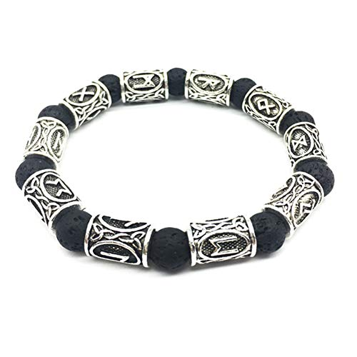 BBYaki Viking Nordische Runen Vulkangestein Armband Damen Nordische Celtic Nordic Rune Talisman Armband Schmuck