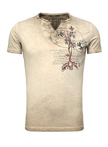 Key Largo Herren Sommer T-Shirt T WEAPON button Printshirt Slim Fit Schnitt V-Ausschnitt mit Knöpfen braun L