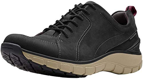 Clarks Womens Wave Go Sneaker, Black Nubuck/Leather Combi, Size 7