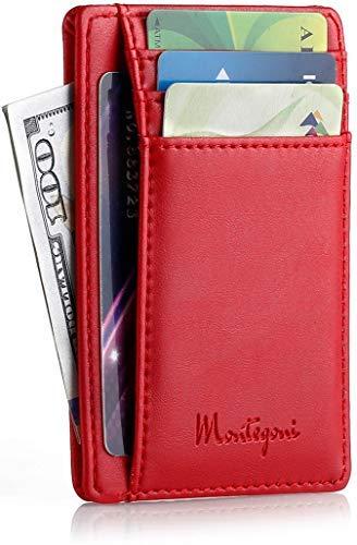 Montegoni® Kartenetui mit RFID Schutz, SEHR Slim und FLACH Kreditkartenetui, Kartenhalter für bis zu 12 Kreditkarten, Brieftasche, Mini Geldbörse, Slim Wallet