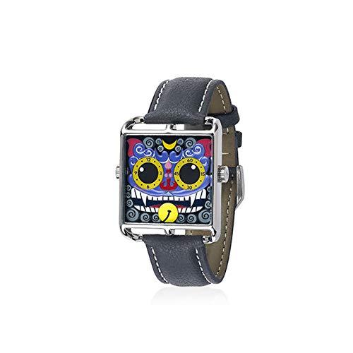 2021 Reloj de pulsera para hombre con diseño de tendencia pequeño monstruo cuadrado de cuarzo liso reloj impermeable