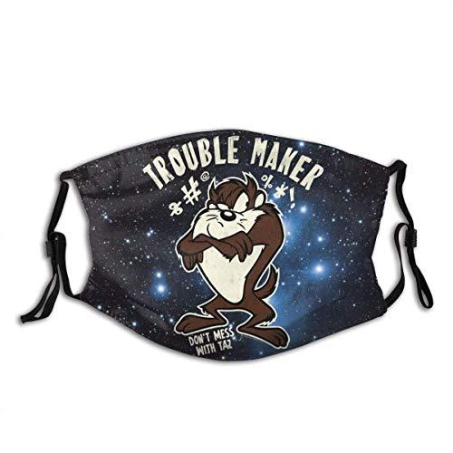 Face Mask Balaclava Neck Gaiter Dust Mask Mouth Guard Looney Tunes Tasmanian Devil Taz Seaml Reusable Bandanas Cartoon Variety Head Scarf for Festivals Black