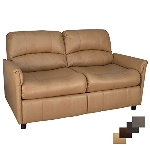 RecPro Charles Collection | 60' RV Hide A Bed Loveseat | Memory Foam Mattress | RV Sleeper Sofa | Pull Out Couch | RV Furniture | RV Loveseat | RV Living Room (Slideout) Furniture | Toffee