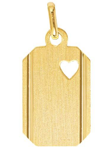 Gravur Anhänger (Ohne Kette) Gelbgold 333 Gold (8 Karat) 22mm x 10mm Mit Herz Goldanhänger Kettenanhänger Zamba V0010909