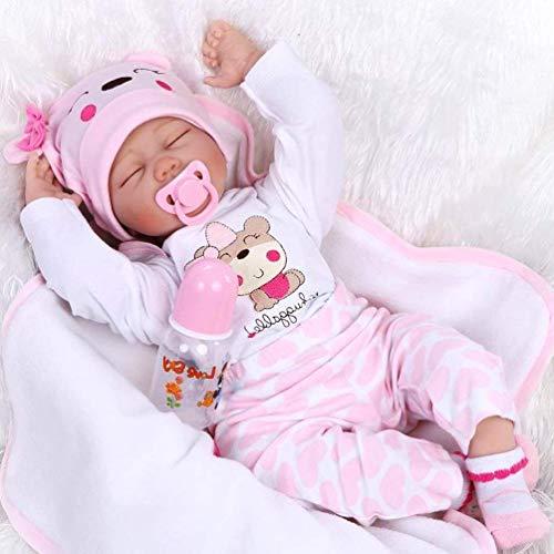 ZIYIUI 22 inch Dormir Muñecas bebé Reborn Niña Silicona Bebe Reborn Babys Dolls Realista Ojo Cerrado Recién Nacido Niños Regalo Juguetes 55 cm