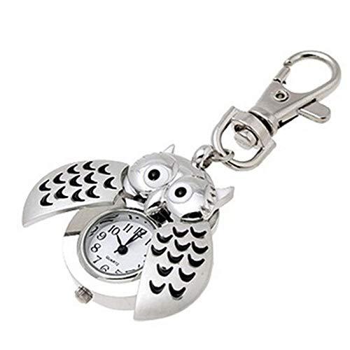 B/H Schwesternuhr Pulsuhr ,Mini Metall Taschenuhr, Schlüsselring Eule doppelt geöffnete Quarzuhr, Silber Krankenschwester Uhren,Medizinische Taschen Quarz Uhren