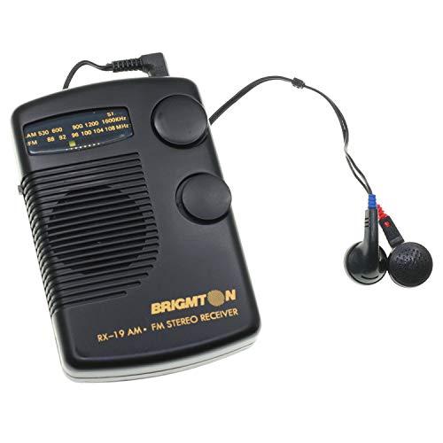 BRIGMTON Radio de Bolsillo con Altavoz y Auriculares Recepcion de Am y FM Stereo