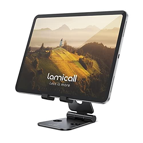 Lamicall Tablet Ständer Verstellbare, Multi-Winkel Faltbar Ständer - Universal Ständer, Dock für 2020 iPad Pro 9.7, 10.5, 12.9, iPad Air 2 3 4, iPad Mini 2 3 4, Samsung Tab, Huawei Tab - Schwarz
