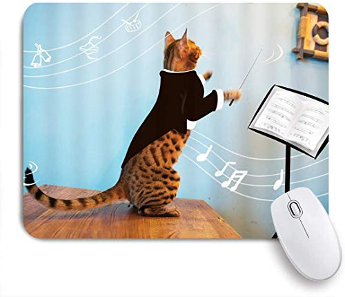 Minalo Gaming Mouse Pad Non-Slip Rubber Base,Music Kitten Striped Cat Tuxedo Baton Conducting Music Romance Funny Animal Image,for Computer Laptop Office Desk,9.5 x 7.9in
