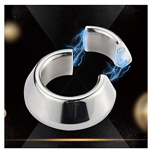 Hodenring Edelstahl Hodenstrecker Segment Ring Nahtlose Penisring Cockring Magnetische Hahnringe für Männer eine Harte & Lang Anhaltende Erektion,Männlichen Orgasmus Verzögerung,Silver