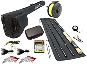 Wild Water Fly Fishing 9 Foot, 4-Piece, 9/10 Weight Fly Rod Complete Fly Fishing Rod and Reel Combo Starter Package with Freshwater Flies