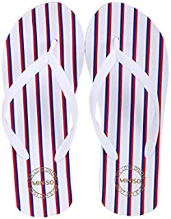 Miniso Women's Stripes Flip Flops M38/39(Blue+Red+White)4509757476428