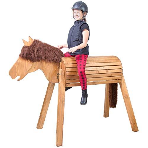 Wildkinder Holzpferd für Draußen - Spielpferd zum Reiten - Fördert Kreativität, Fantasie, Motorik - Handgefertigt in Deutschland - Mittelbraunes XXL Pferd mit dunkelbrauner Mähne - Voltigierpferd