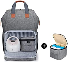 Luxja Breast Pump Bag with Breastmilk Cooler Bag (Fits Four 5-Ounce Breastmilk Bottles), Breast Pump Backpack with Compartments for Cooler Bag and Laptop (Suitable for Working Mothers), Gray