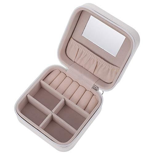 Veemoon Caja de Joyería de Cuero Caja de Joyería de Viaje Blanca con Compartimentos de Espejo Anillos Pendientes Caja de Almacenamiento Mini Organizador de Baratijas Portátil