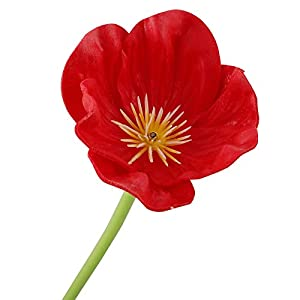 LSFYYDS 10pcs Red Poppies Artificial Flowers, Realistic PU Silk Poppy Flocking Long Stem Flowers Fake Bouquet Floral Arrangement for Wedding Home Kitchen Living Room Dining Table Decorations Red
