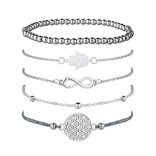 Juego de 5 pulseras de plata para mujer, con símbolo de infinito, pulsera de bola, pulsera ajustable