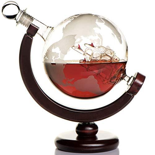 Whisky Karaffe Globus für Alkohol - Whiskey Decanter Bar Set mit Gläser Holzständer und Weltkarte - Geschenke für Männer und Frauen - Glas Flasche für Gin, Rum, Scotch, Likör, Bourbon, Wodka, Brandy